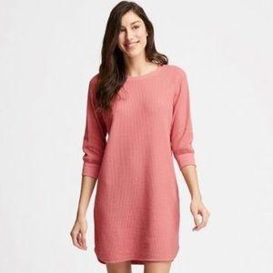 UNIQLO pink waffle crew long sleeve dress